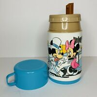 Vtg Mickey Mouse Minnie Aladdin Plastic Thermos Blue Disney Hollywood Film Movie