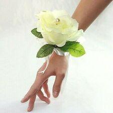 1x Ivory Rose Lady Wrist Corsage Bridal Wedding Artificial Silk Flower