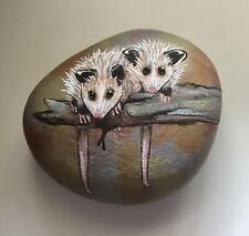 Baby Opossums—Hand Painted on a Rock