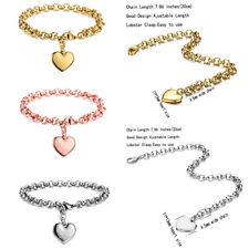 Womens Lover Stainless Steel Bracelet Bangle Wristband Heart Dangle Cuff Chain
