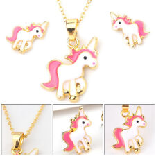 9de6d74631 Childrens Kids Girls Pink Unicorn Necklace Earring Set Brand New Jewellery  Gifts