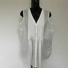 'YARRA TRAIL' BNWT SIZE '10' LONG WHITE SLEEVELESS COTTON SHIRT WITH PLEATING