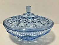 Vintage Indiana Glass Windsor Button and Cane Aqua Blue Candy Dish Bowl with Lid