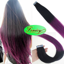 Tape in Human Hair Extensions Silky Straight Skin Weft Ombre Balayage Remy Hair