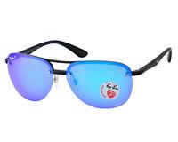 Ray-Ban Black Frame/Polarized Blue Mirror Chromance Unisex Sunglasses 63mm