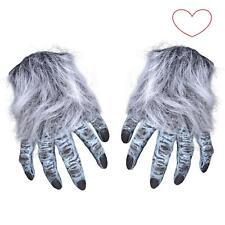 Gloves Adult Hairy Grey Wolf Werewolf Hands Halloween Fancy Dress Claws Rubber