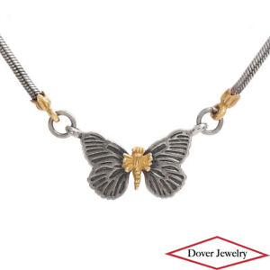 LAGOS Caviar 18K Gold Sterling Silver Butterfly Pendant Chain Necklace 8.2 Gr NR