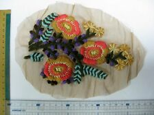 Sew On Crochet Patch Flower Applique With Mesh Base, Knitted Threading Motif 1pc