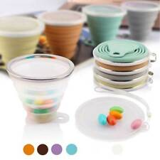 270ml Silicone Folding Cup With Lanyard Outdoor Coffee Cups Retractable Travel