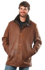 Men's Remy brown shearling fur collar zipper button up leather jacket $1,500!!!