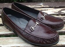 SAS Tripad Comfort 8.5 N Patent Leather Loafer Shoes Wine Red Crinkle MINT $150