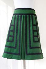 Anthropologie Maeve Green Black Tsuga Wool Flare A-Line Pleated Geo Skirt Sz 2