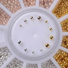 Steel Bead 3D Nail Art Decoration Acrylic Rhinestones 4Sizes Mixed Manicure Tips