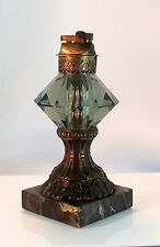Antique VINTAGE Unusual Table Lighter Glass/Metal Marble USA  xyms005