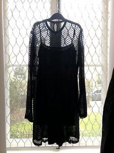 Balenciaga Sheer Polka Dot Black Silk Dress UK 8