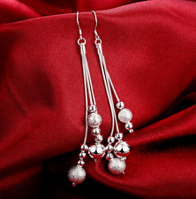 Womens 925 Sterling Silver Ball Bead Long Drop Dangle Fashion Charm Earrings E25