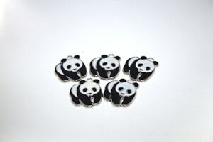 5 x Black and White Enamel Panda Metal Charms