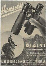 39/251 affichage d'un journal Publicité pour 1938? dialyt-Hensoldt Wetzlar