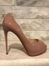 NIB Christian Louboutin New Very Prive 120 Nude Patent Leather Peep Heel Pump 42
