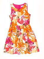 Eliza J Orange & Pink Floral Fit Flare Dress Size 12