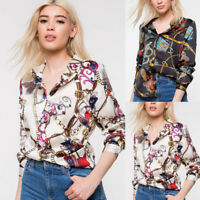 Womens Long Sleeve Chains Print Ladies Casual Shirt Tops V Neck Blouse Loose XL