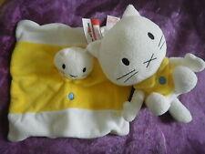 lot peluche + Doudou chat musti jaune  blanc BENGY 18 et 20cm