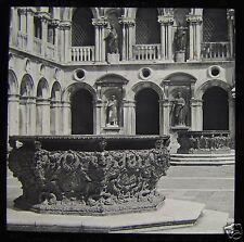 Glass Magic Lantern Slide VENICE BRONZE WELLS DUCAL PALACE C1890 VENEZIA ITALY