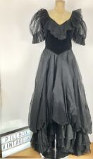 50's Black Taffeta & Velvet Handmade Maxi Dress Stunning Bodice and skirt detail