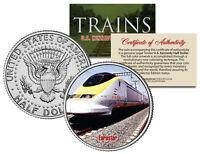 EUROSTAR TRAIN * Famous Trains Series * JFK Half Dollar Colorized U.S. Coin