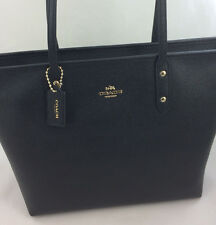 a904b692bc46 New Authentic Coach F58846 Genuine Leather City Zip Tote Handbag Purse Bag  Black