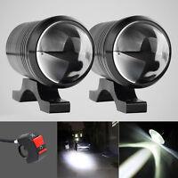 2x CREE U1 LED Fisheye Motorcycle Light Headlight Fog Spot Driving Lamp & Switch