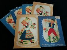 Lot of 6 Vintage Meyercord Transfer Decals 872 A & C Swiss Boy Girl Nos