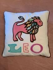 "Pottery Barn Teen Leo Zodiac Embroidered 12"" Decorative Pillow Organic Cotton"