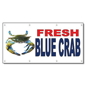Fresh Blue Crab Red Blue Food Bar Restaurant Food Truck Vinyl Banner Sign
