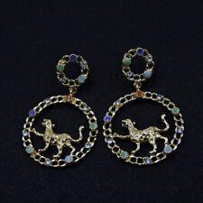 New Betsey Johnson Rare Rhinestone Cute Leopard Drop Earrings Fashion Jewelry