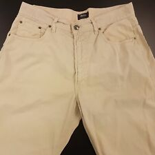 HUGO BOSS  Mens Jeans W35 L30 Cream Relaxed Fit Tapered High Rise