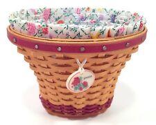 Longaberger Mini Geranium Basket, Liner, Protector, Tie On Set 1st May Miniature