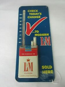 "VINTAGE ADVERTISING L & M  CIGARETTES  STORE THERMOMETER 13""   872-W"