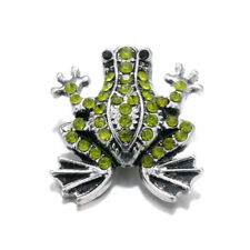 10pcs 18mm Frog Rhinestone Alloy Snap Buttons Fit Noosa Snap Bracelet N359