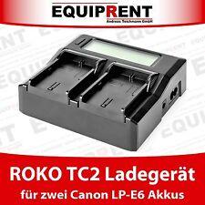 ROKO TC2-LPE6 DUAL Travel Charger Reiseladegerät für Canon LP-E6 Akkus EQE41
