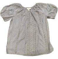 Dress Barn Womens Short Cap Sleeve Square Neck Denim Blue Blouse Top Size Large