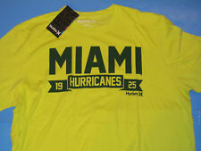 NWT Hurley Miami Hurricanes 1925 T-Shirt Men L Lime Green Premium Fit Canes NEW