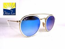 RAY BAN DOUBLE BRIDGE 3647N 001 4O ROUND ORO LENTI SPECCHIATE BLU Sunglasses