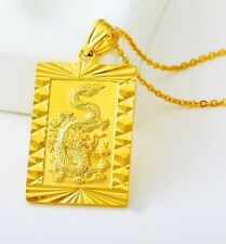 24k Yellow Gold Bold Dragon Pendant - Chain Link Necklace + Gift Pkg D451