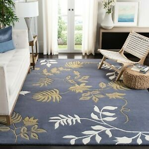 Contemporary Floral Oriental Area Rug Wool Hand-Tufted Modern Gray Carpet 8x10Ft