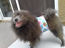 """Cumber-Blunder"" Belly Band for Male Dogs - Colorful Flowers Polar Fleece - S"