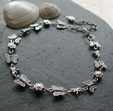 Silver Summer Garden Butterfly Flower Dragonfly Anklet Ankle Bracelet Handmade