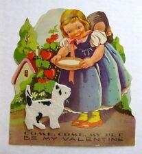 1940s Valentine's Day Card Girl Feeding Cat Made of Felt Happy Valentine My Pet