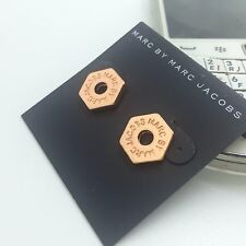 Hot Sale Marc by Marc Jacobs RoseGold Hollow Hexagon Letters Logo Earring #E0333