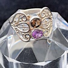 Pretty Amethyst & Garnet Solid 925 Sterling Silver Art Deco Style Ring Size R